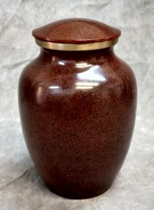 Brown w/ Gold Rimmed Brass Urn $45.00