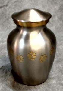 Silver and Gold Tall Brass Print Urn $75.00