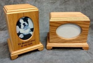 Oak Wood Oval Photo Urn $55.00