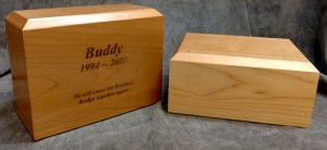 Maple Wood Urns - INCLUDED w/ $195.00 Pet Cremation - You select size.